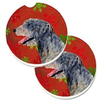 Irish Wolfhound Red & Green Snowflakes Holiday Christmas Set of 2