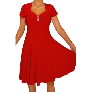 Funfash Plus Size Clothing Women Red Cocktail Party Dress Made in USA