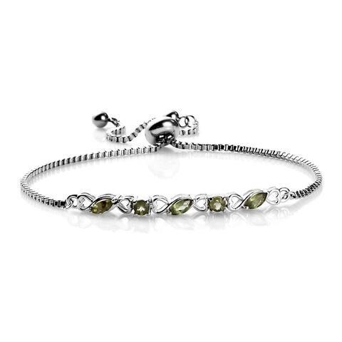 925 Sterling Silver Green Apatite Heart Station Bolo Tennis Bracelet