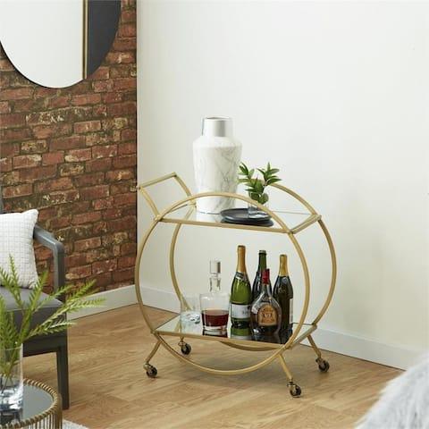 Luca Rolling Portable Round Mirrored Gold 2-Shelf Bar Cart - N/A