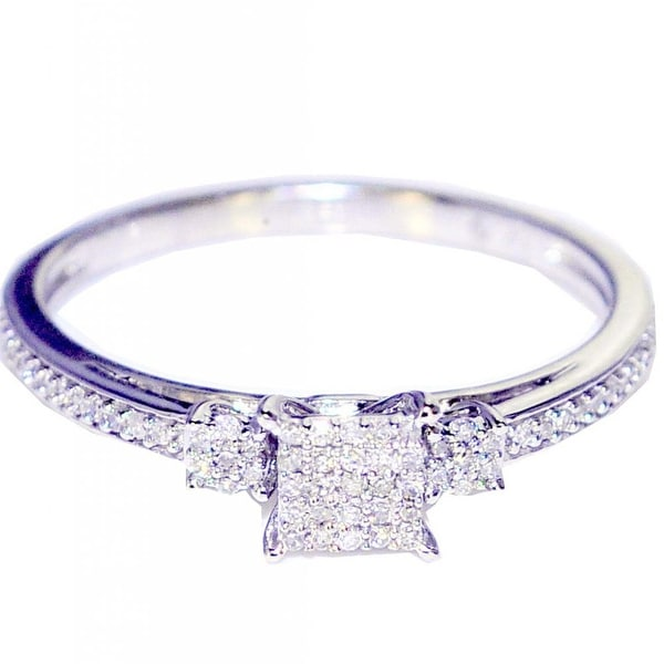 0.15cttw Diamond Engagement Ring Promise Ring Square Shaped Pave Set (I/j Color 0.15cttw) By MidwestJewellery - White