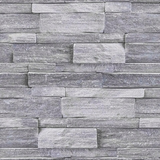 Graham and Brown 103948  Country Coastal Stone Inspired Non-Pasted Wallpaper - Gray