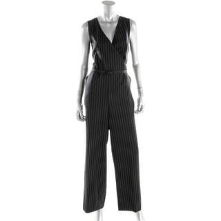 Ralph Lauren Womens Petites Wool Pinstripe Jumpsuit - 12P