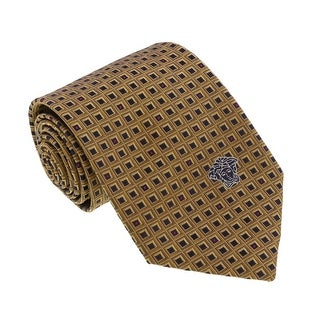 Versace Gold Woven Geometric Grid Tie