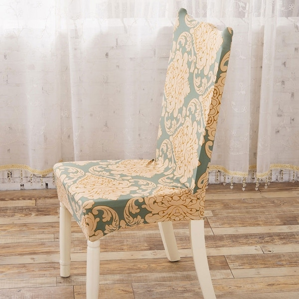 Unique Bargains Yellow Leaf Removable Stretchy Elastic Dining Chair Cover
