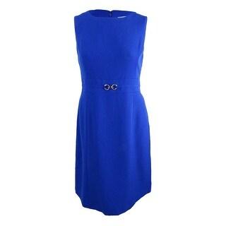 Kasper Women's Petite Embellished Sheath Dress - cobalt