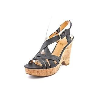 Ivanka Trump Handy Open Toe Leather Wedge Sandal