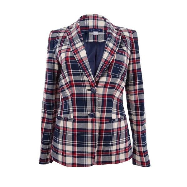 e7310149 Shop Tommy Hilfiger Women's Plaid Two-Button Blazer - midnight multi - Free  Shipping Today - Overstock - 23029403