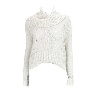 Ohmg! Natural Marled Long-Sleeve Cowl-Neck Sweater M