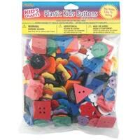 Assorted Colors; Shapes & Sizes - Plastic Kids Buttons .5Lb
