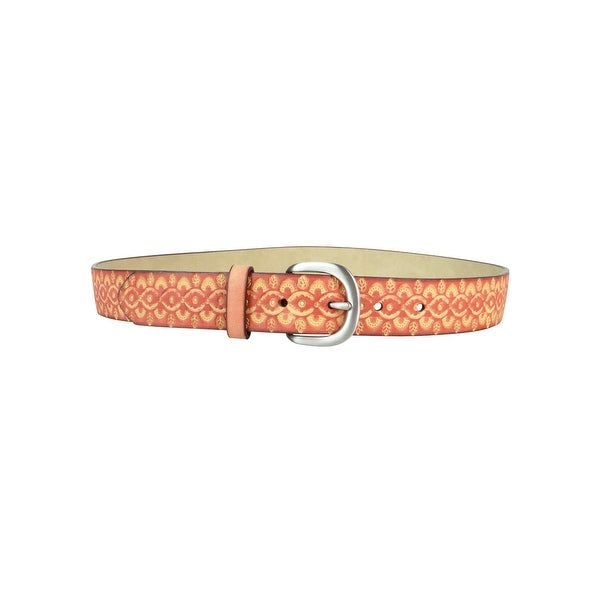 Style & Co. Women's Embossed Pattern Faux Leather Belt - Red - S