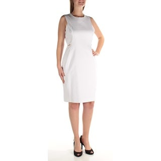 Womens White Sleeveless Knee Length Sheath Wear To Work Dress Size: 10