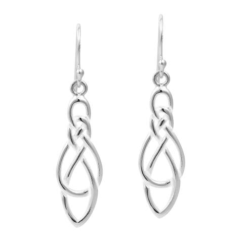 Handmade Celtic Knot Infinity Loop Drop Sterling Silver Dangle Earrings (Thailand)