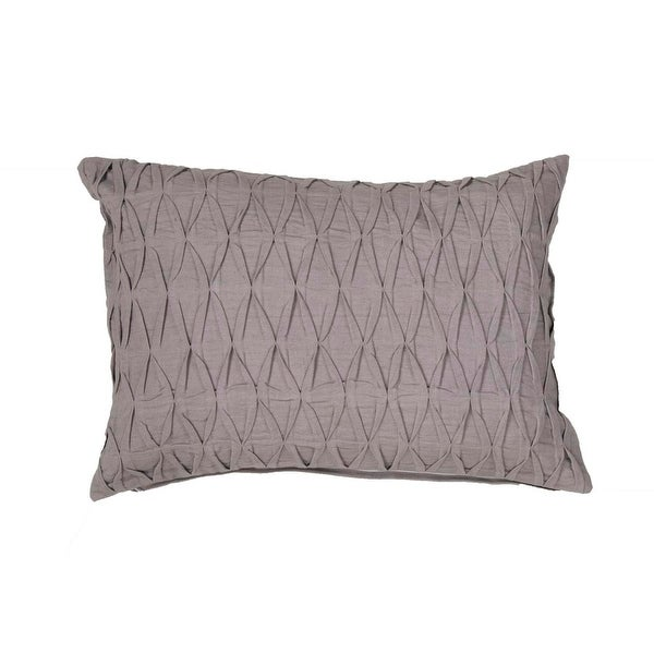 "20"" Solid Silver Gray Textured Decorative Lumbar Throw Pillow"