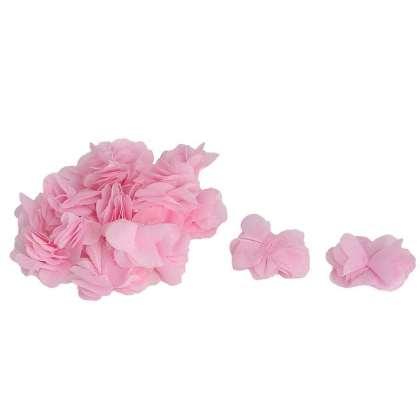 Boutique Fabric Artificial Handcraft Meshy Decorative Flower Pink 20 PCS