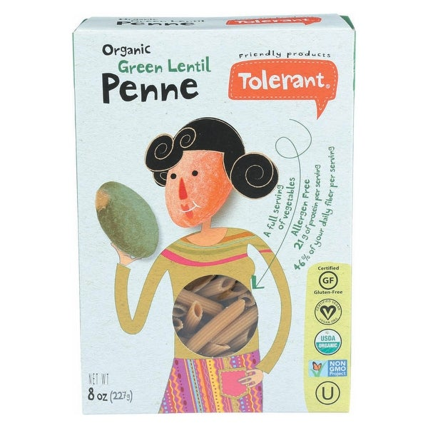 Tolerant Simply Legumes Green Lentil Pasta - Penne - Case of 6 - 8 oz.