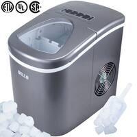 Della Premium Ice Maker Portable Counter-Top, Daily Ice Making Capacity: 26 LBS (Silver)