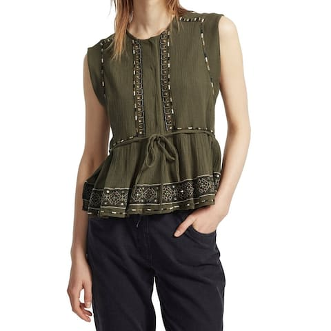 French Connection Womens Peplum Tank Olive Green Size 10 Embroidered