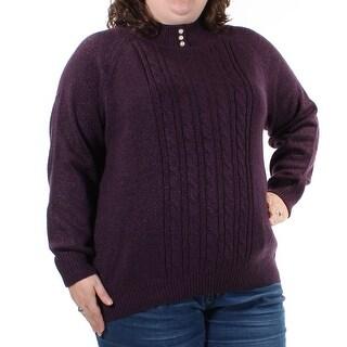 KAREN SCOTT $44 Womens New 1066 Purple Long Sleeve Sweater 2X Plus B+B