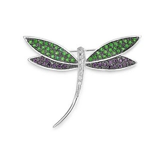 Bling Jewelry Dragonfly Pin Multicolor CZ Pendant Rhodium Plated