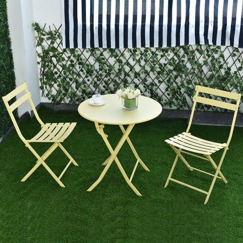 Costway 3 PC Folding Table Chair Set Outdoor Patio Garden Pool Backyard Furniture Yellow