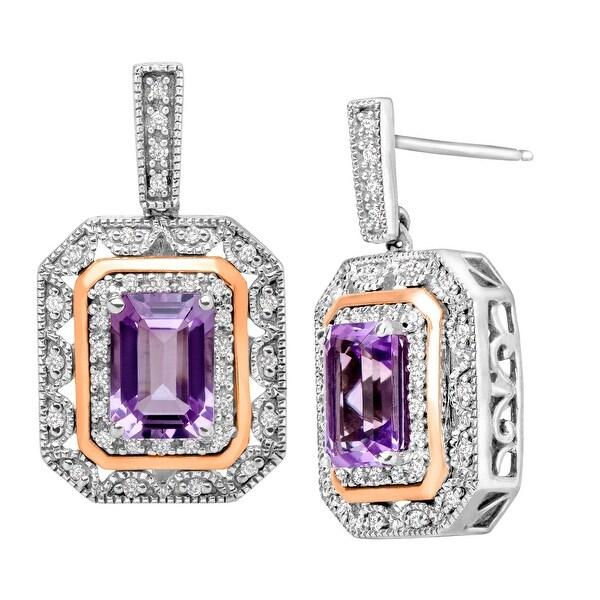 1 3/4 ct Pink Amethyst & 1/5 ct Diamond Drop Earrings in Sterling Silver & 10K Gold