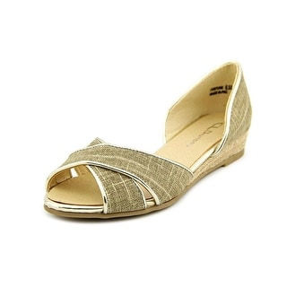 CL By Laundry Fortune Women Peep-Toe Canvas Bronze Flats