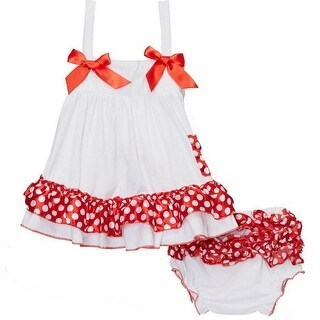 Wenchoice Baby Girls White Red Polka Dots Bow Ruffles Swing Top Set (3 options available)