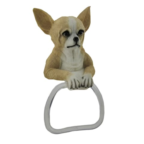 Chihuahua Dog Hanging Towel Holder - 10.5 X 6 X 3 inches