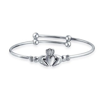 Bling Jewelry Sterling Silver Claddagh Baby Bracelet Expandable 6.5in
