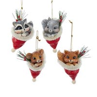 Club Pack of 12 Vintage Animal in Santa Hat Decorative Christmas Ornaments - RED