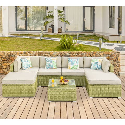 COSIEST 7 Piece Patio Furniture Light Olive Wicker Sectional Sofa Set with Ottoman