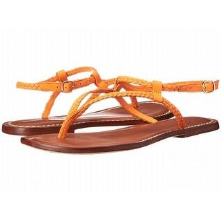 Bernardo NEW Orange Merit Woven 5.5M Ankle Strap Leather Sandals