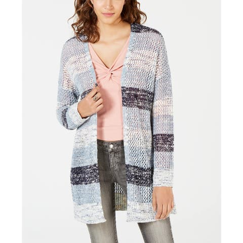 American Rag Junior's Striped Cardigan Sweater Blue Size XX-Large