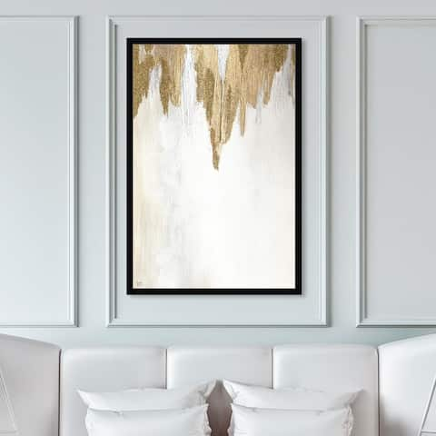 Oliver Gal 'Very Golden' Abstract Framed Wall Art Prints Paint - Gold, White