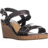 Coach Hinna Wedge Ankle Buckle Platform Sandals, Pewter - 6.5 us / 36.5 eu