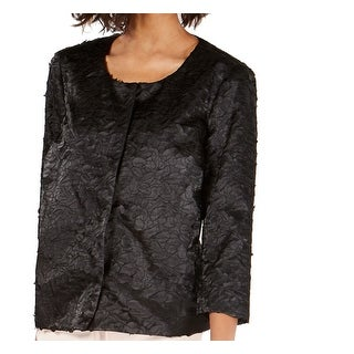 Alfani Women's Jacket Black Size Large L Shimmer Textured Button Down