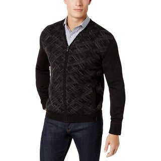 Calvin Klein Mens Cardigan Sweater Merino Wool Pattern