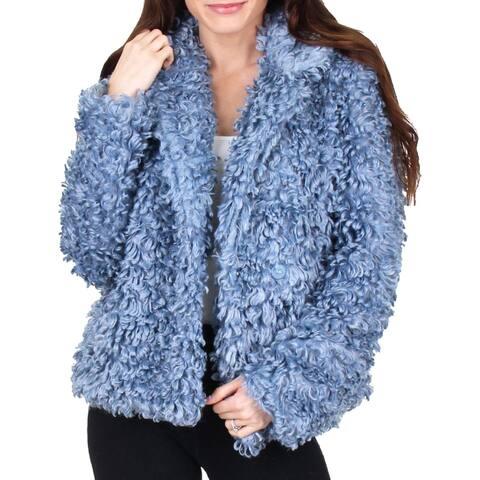 Tahari Pepper Curly Women's Faux Fur Cozy Winter Teddy Coat - Pale Blue