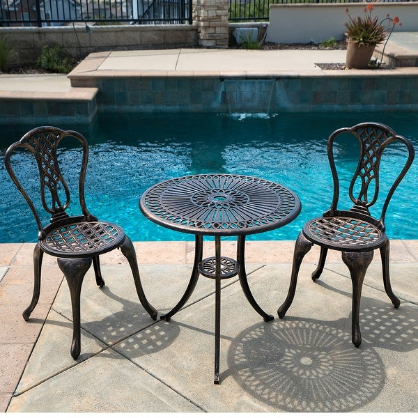 Belleze 3pc Bistro Set Outdoor Patio Furniture Design Cast Aluminum Table And Chair Antique Bronze