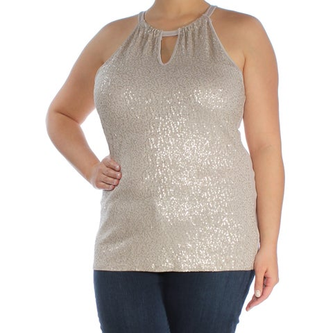 INC Womens Gold Sequined Sleeveless Halter Party Top Size: XL