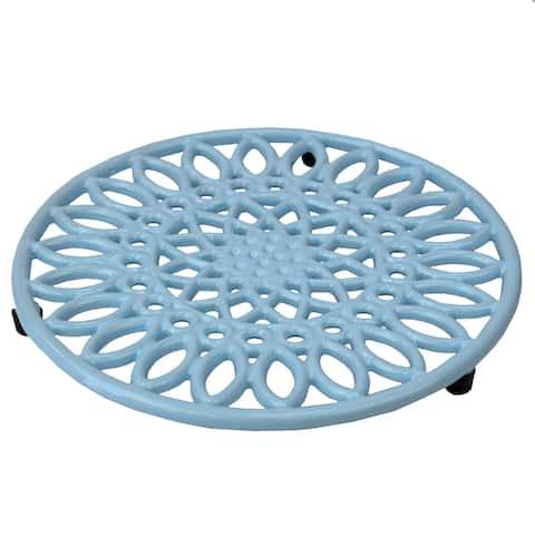 Sunflower Cast Iron Trivet, Light Blue