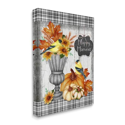 Stupell Industries Happy Harvest Charming Autumn Birds and Gourds Canvas Wall Art - Multi-Color