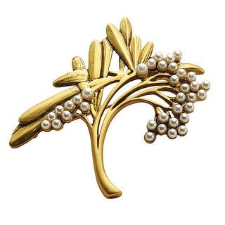 Museum Reproductions Women's Art Nouveau Spray Brooch - Gold Tone Faux Pearl Pin