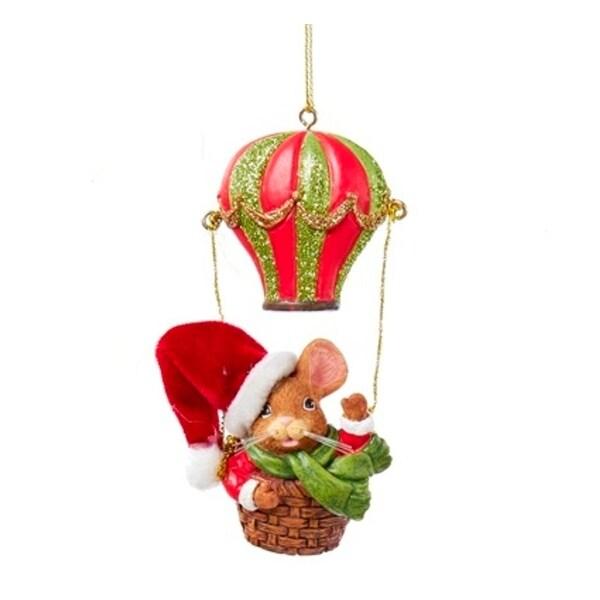 "4"" Mouseville Santa Decorative Christmas Ornament - RED"
