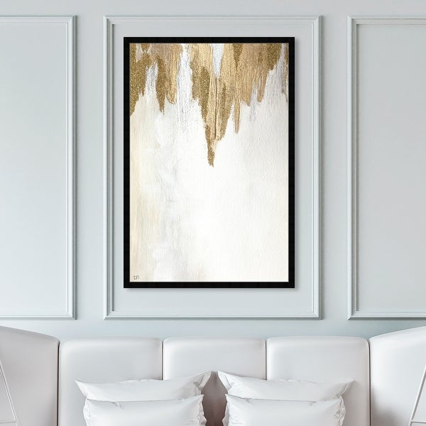 Oliver Gal 'Very Golden' Abstract Framed Wall Art Prints Paint - Gold, White. Opens flyout.