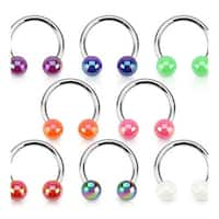 Aurora Borealis Coating Over Acrylic Balls 316L Surgical Steel Horseshoe (Sold Individually)