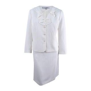 Tahari ASL Women's Plus Size Ruffled Skirt Suit - Ivory White