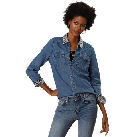 Women's Leopard Button Up Long Sleeves Top Shirts Denim Shirt with Pockets - Blue