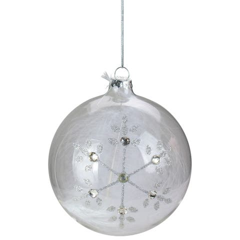 "4.5"" Clear Glass Hanging Christmas Ball Ornament with Swarovski Crystals and White Feathers"